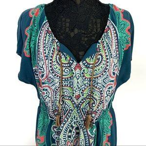 Sonoma Blue XL Green Southwest Boho V Neck Dress
